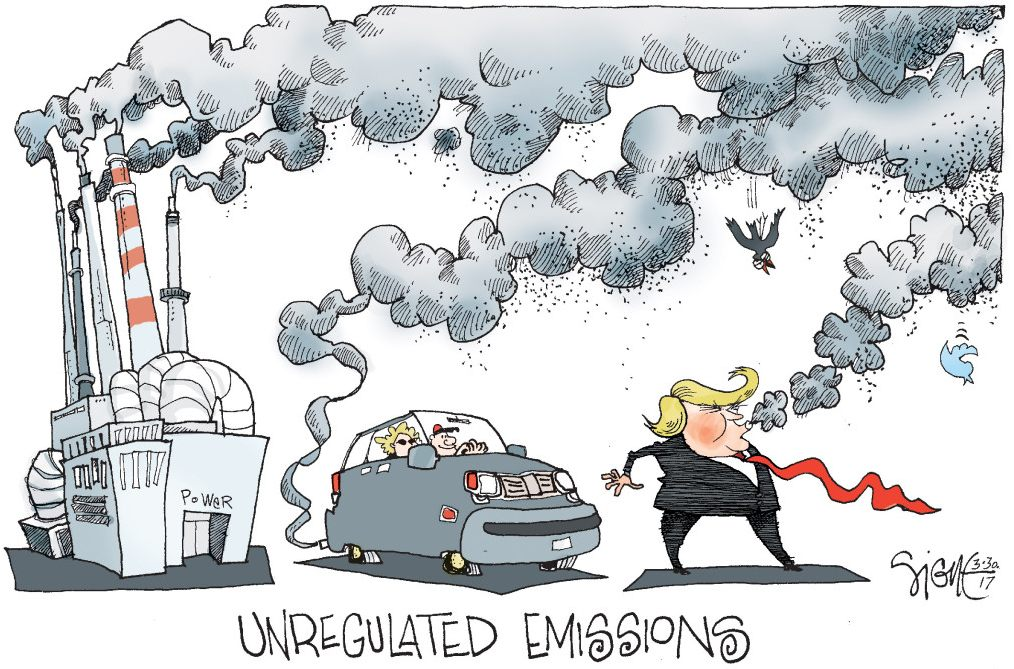 Trump smog emissions fossil fuel addiction increases global warming