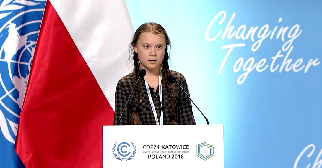 Greta Thunberg at the United Nations in Katowice, Poland 2018