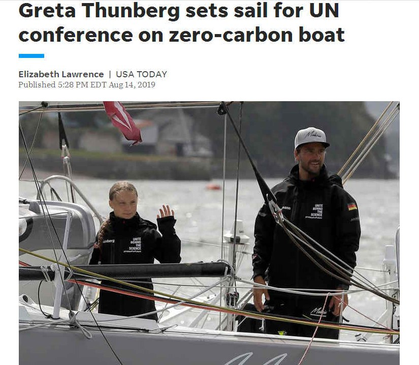 Greta Thunberg on zero carbon sailing boat