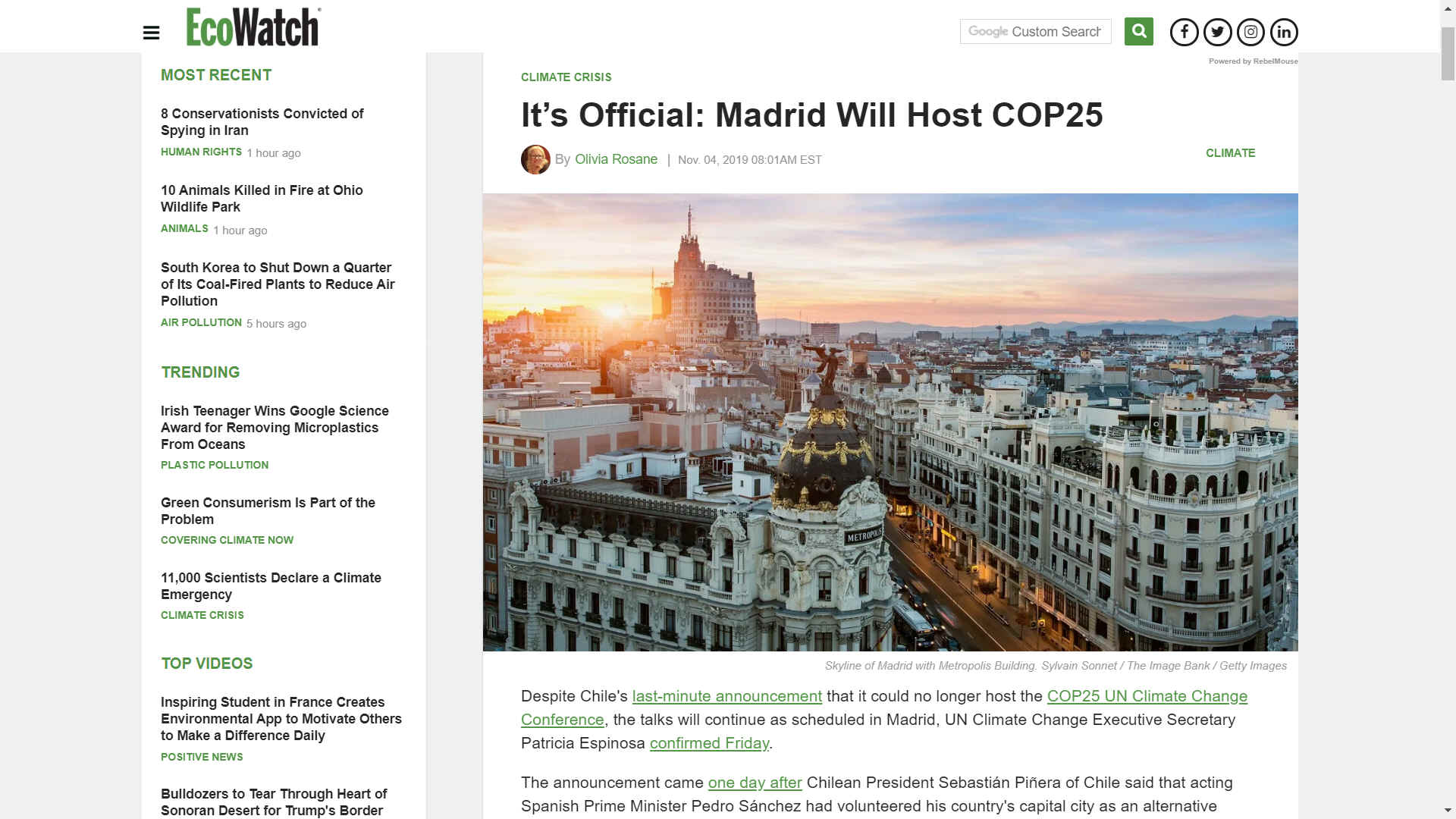 Madrid to host climate change talks COP 25 in December 2019
